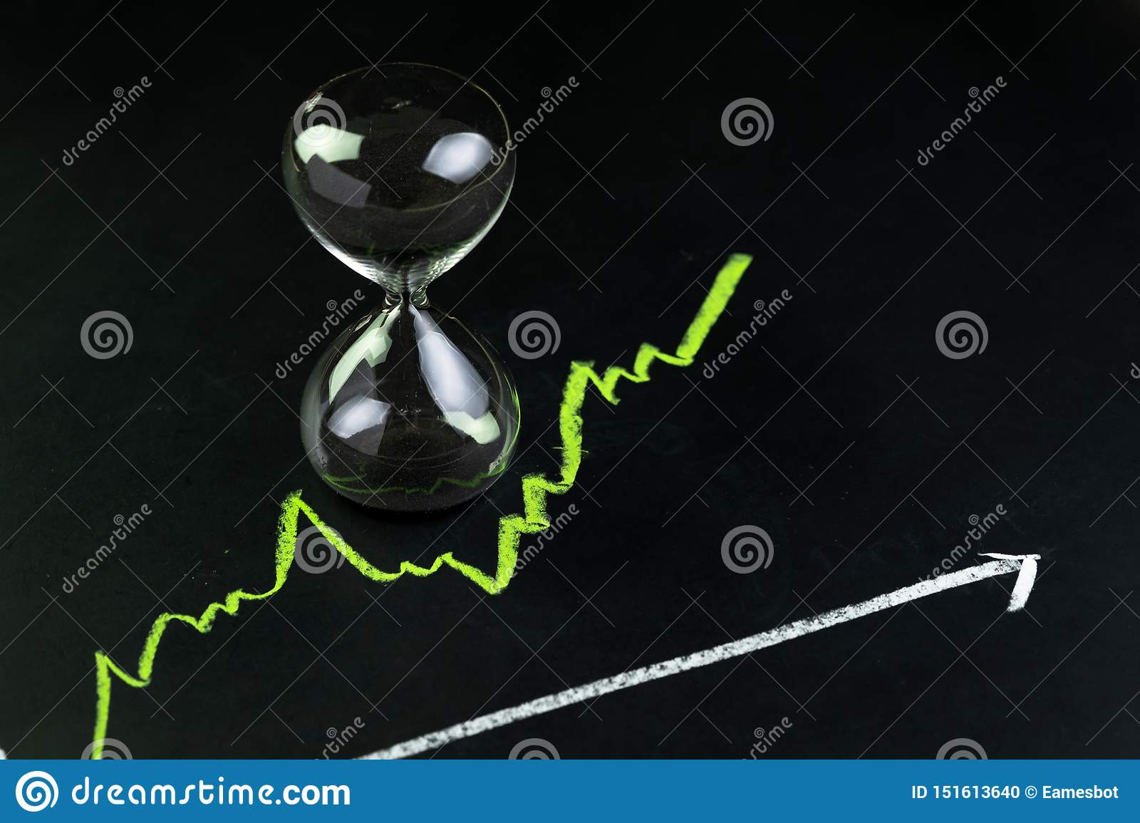 Time for invest or long term investment concept, hourglass or sandglass with black sand inside on stock market green line rising