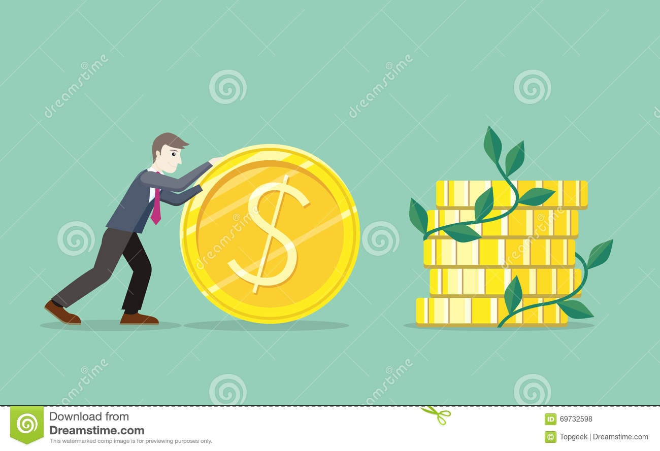 Time for invest man with gold coin stock vector illustration of time for invest man with gold coin biocorpaavc Images