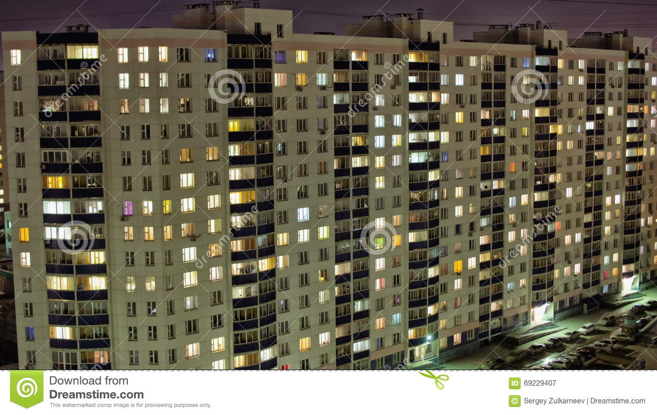 Time Lapse Of Apartment Building At Night Stock Video Video