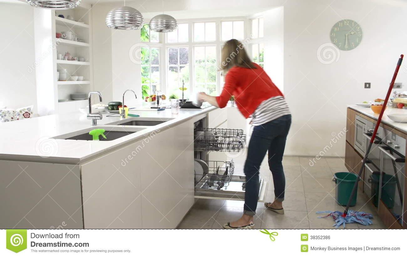 Time Lapse Sequence Of Busy Woman Working In Kitchen Stock Video Footage    Video Of Forties, Mopping: 38352386