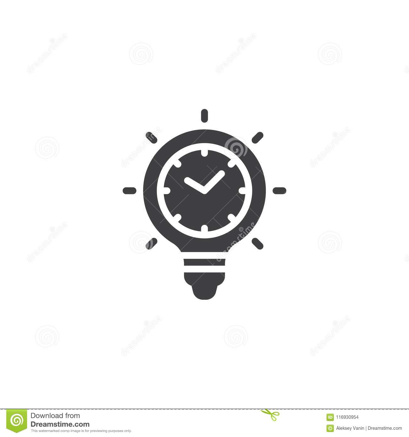 Time Light Bulb Vector Icon Stock Vector Illustration Of Lamp