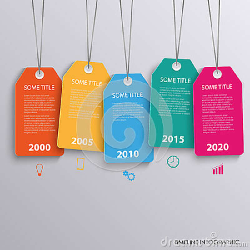 time line info graphic with colorful hanging tags template stock