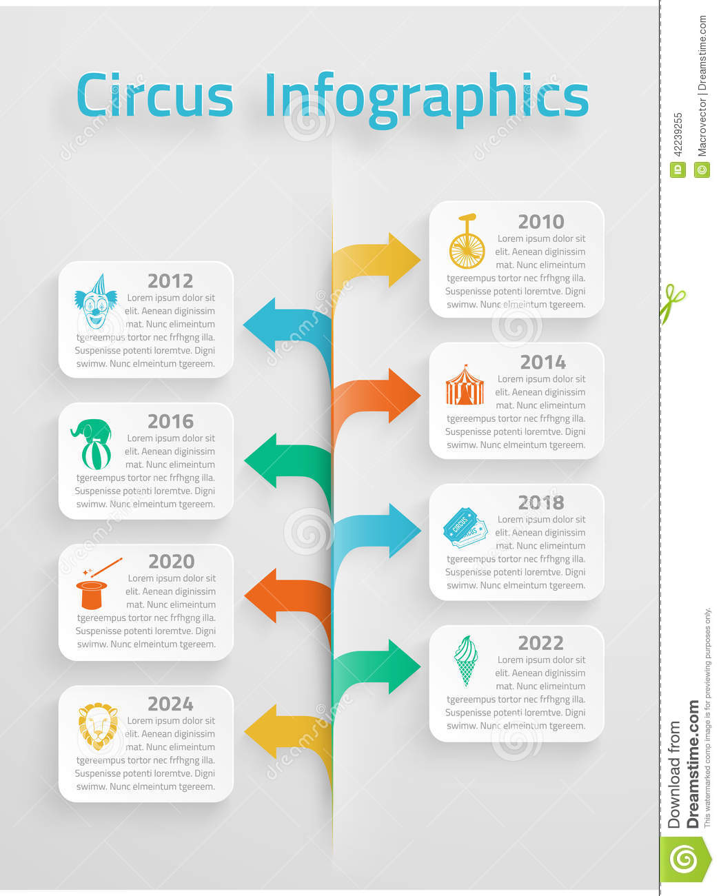 Free Downloadable House Plans Time Line Infographic Circus Stock Vector Illustration