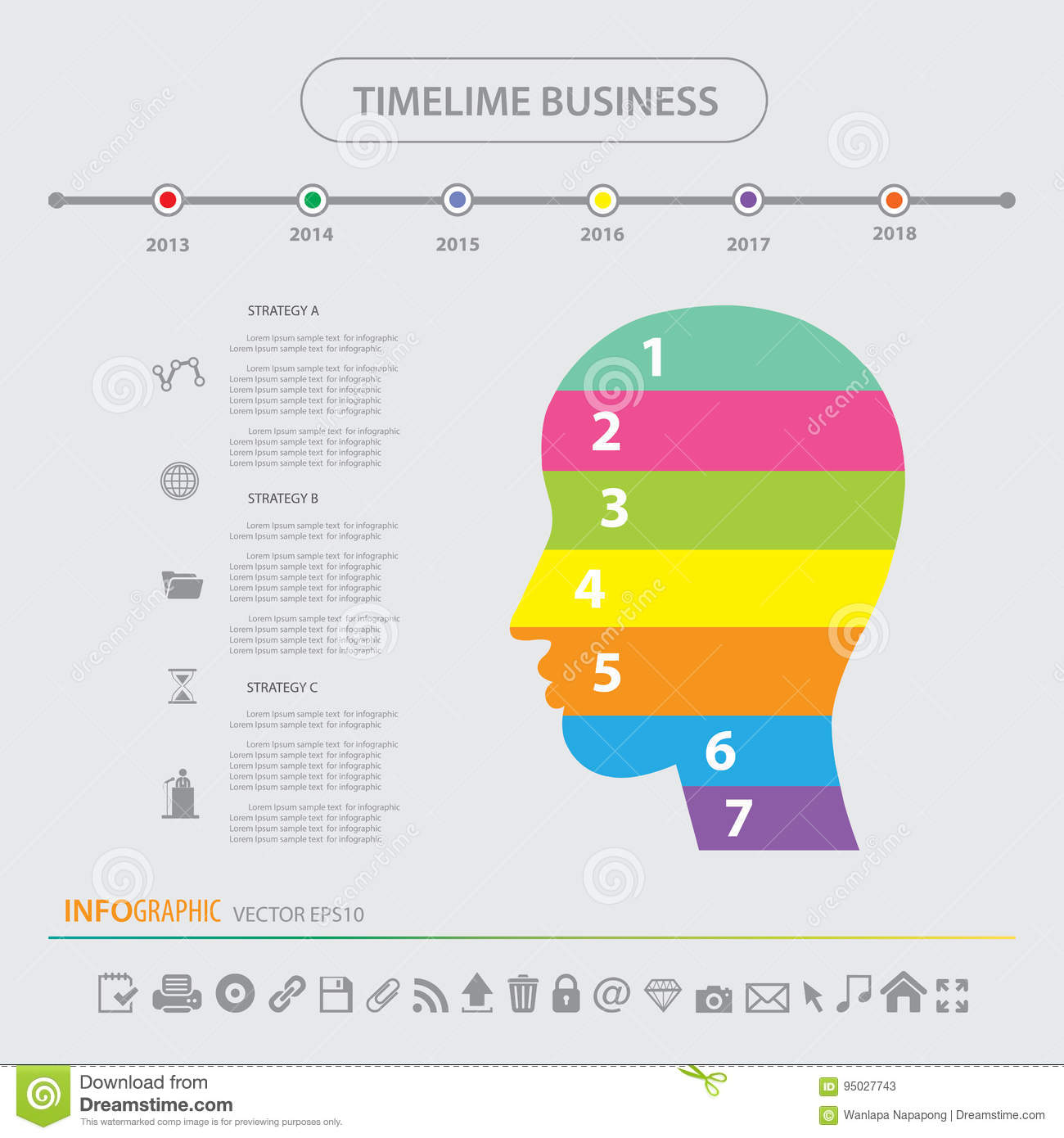 Download Time Line Infographics Design Template Icons Set Stock Vector