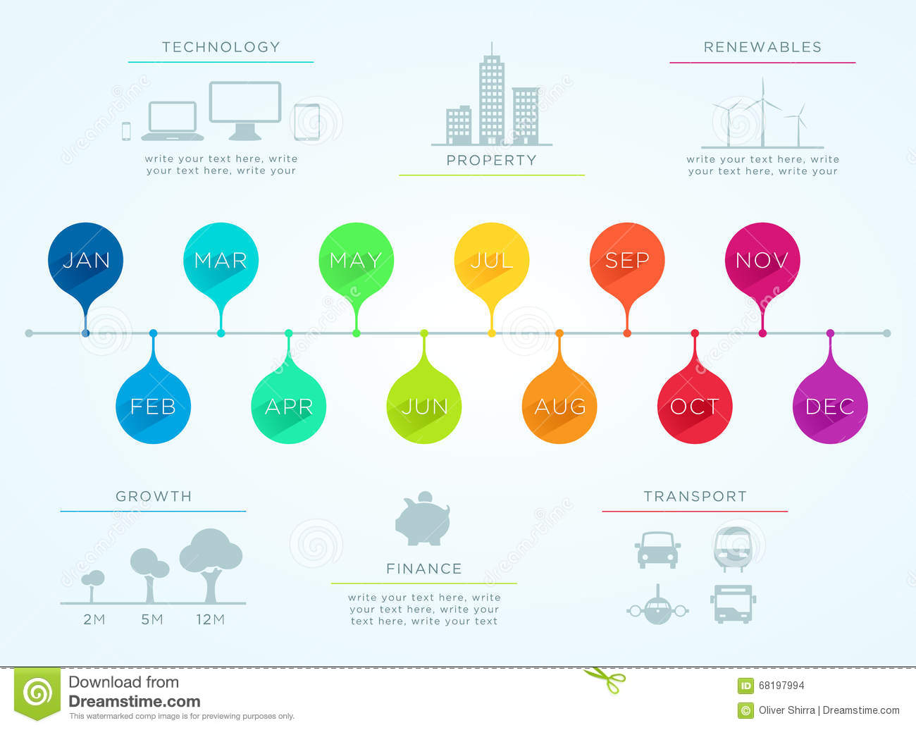 Time Line January To December Vector Infographic Stock