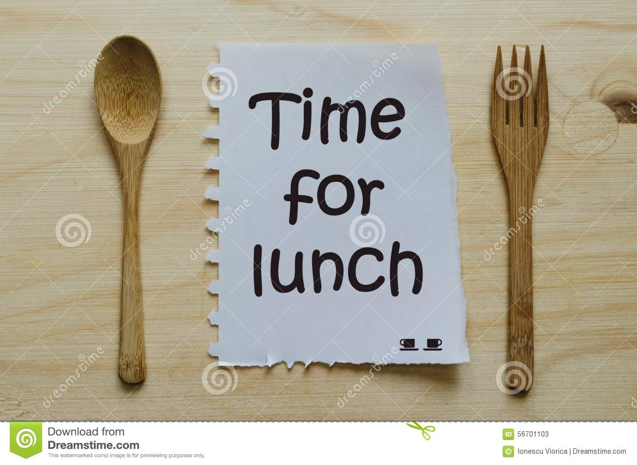 Time For Lunch Written On Note Between Spoon And Fork ...