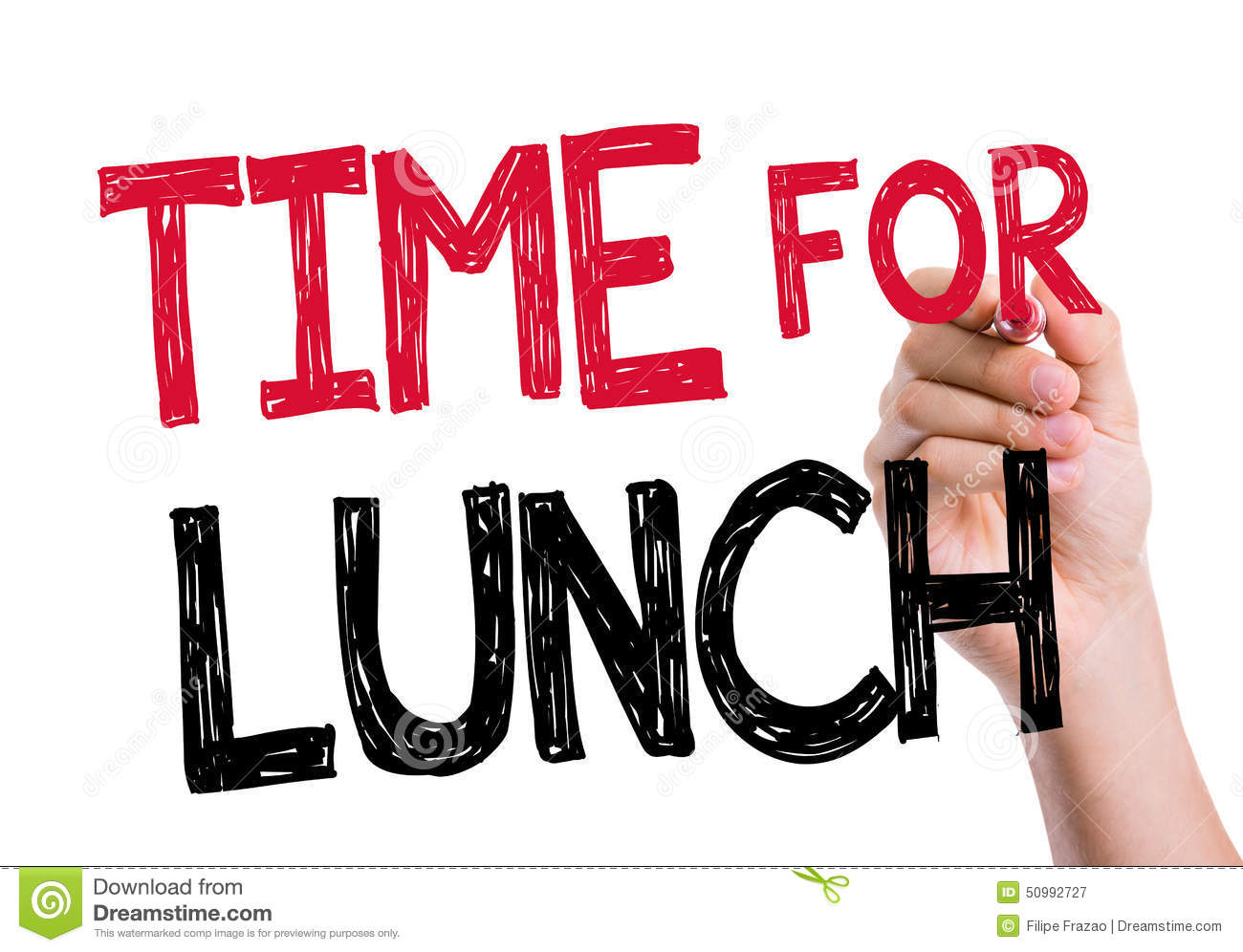 Time For Lunch Written On The Wipe Board Stock Photo - Image: 50992727