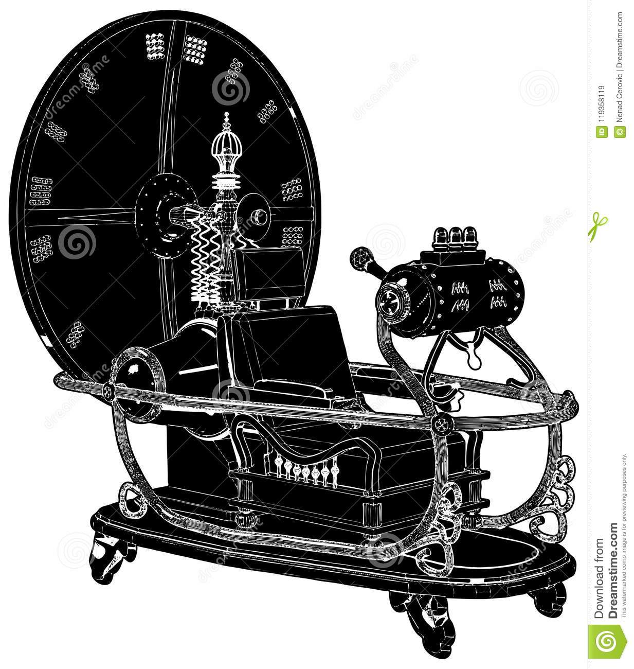 Time Machine Isolated On White Background Vector
