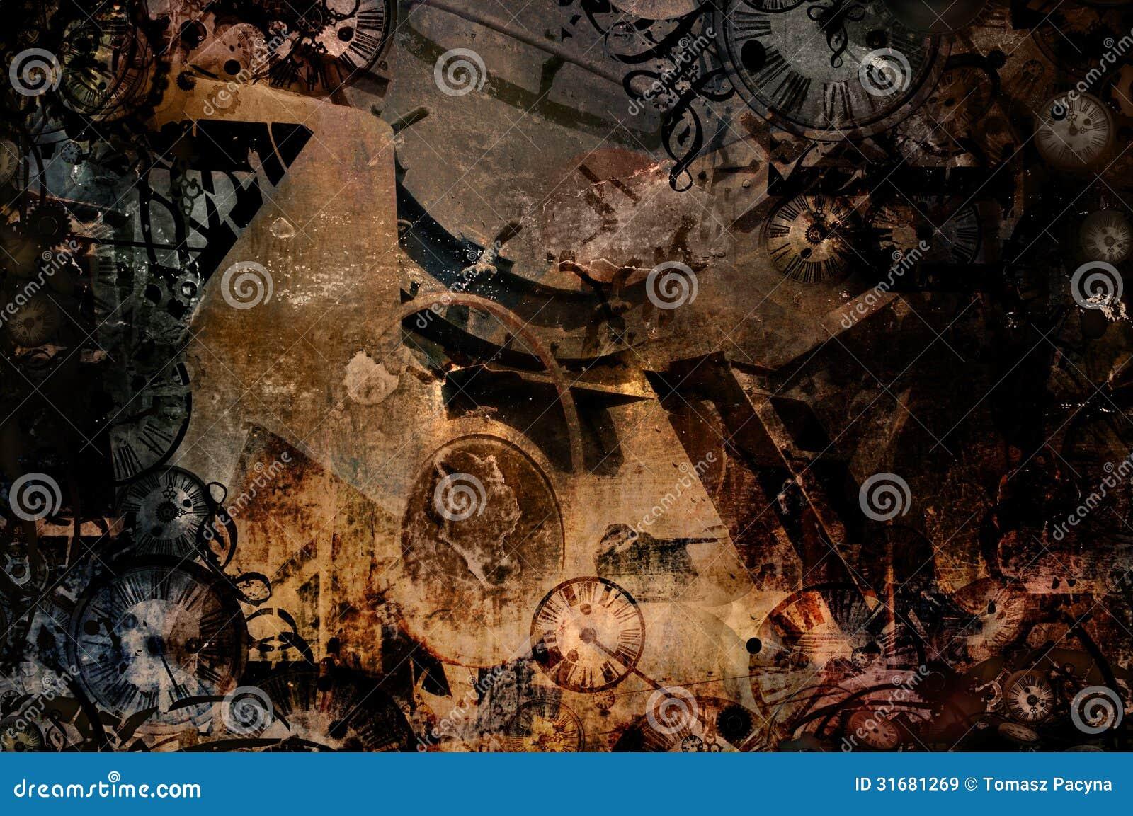 Time machine vintage steampunk background