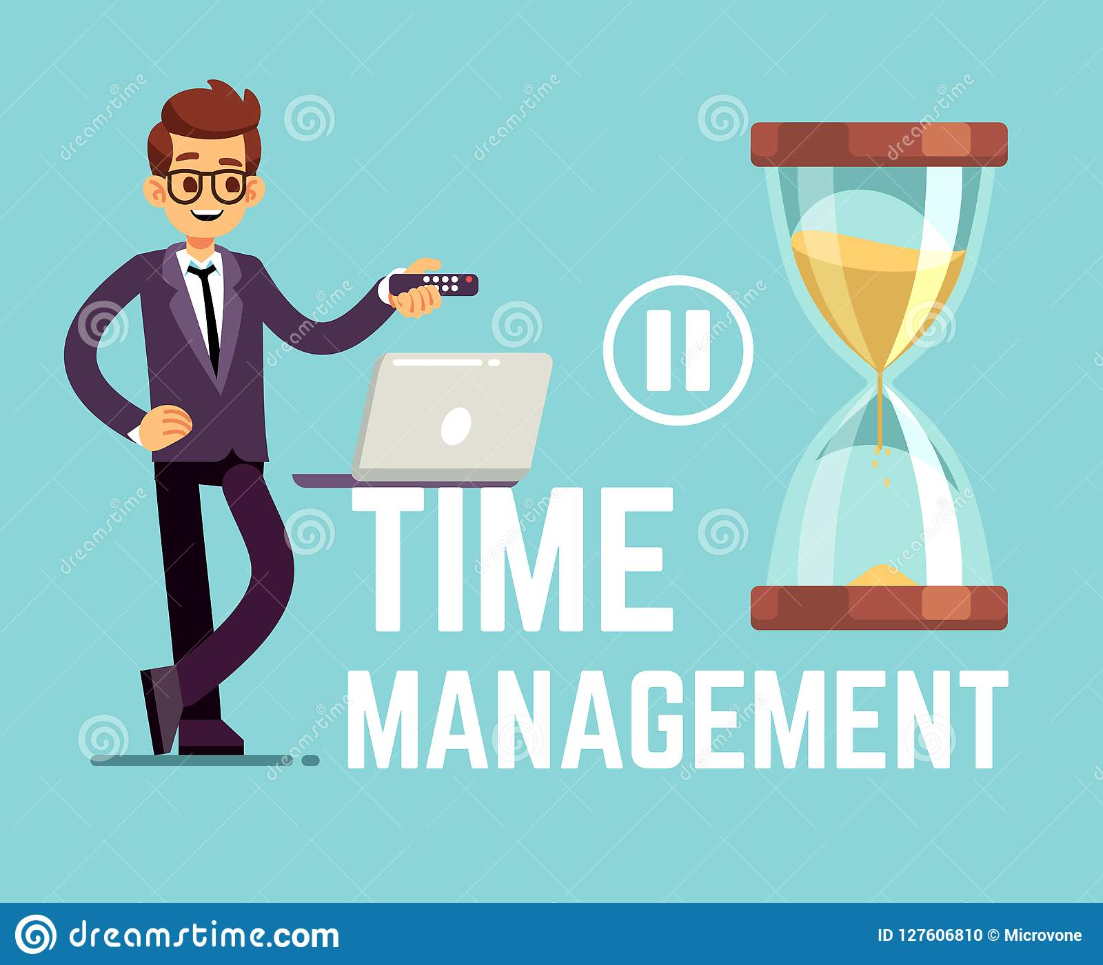 Time Management Business Concept With Cartoon Businessman And Clock Vector Illustration Stock Vector Illustration Of Business Abstract 127606810
