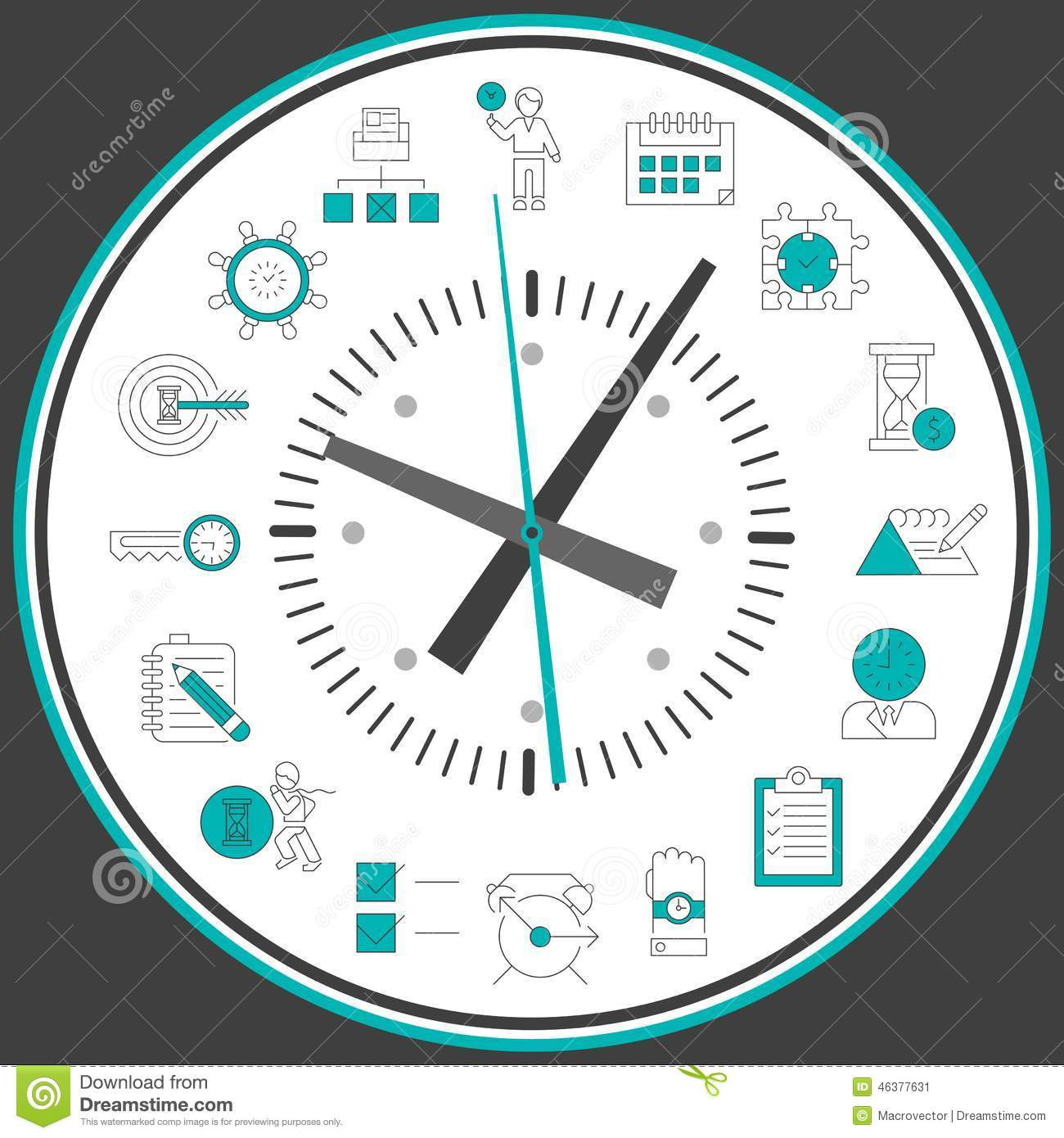 Time management clock stock vector illustration of for Time for business