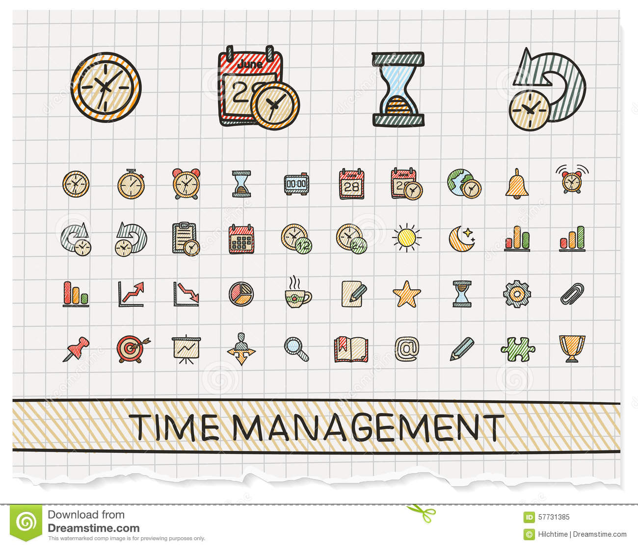 Time management hand drawing line icons.
