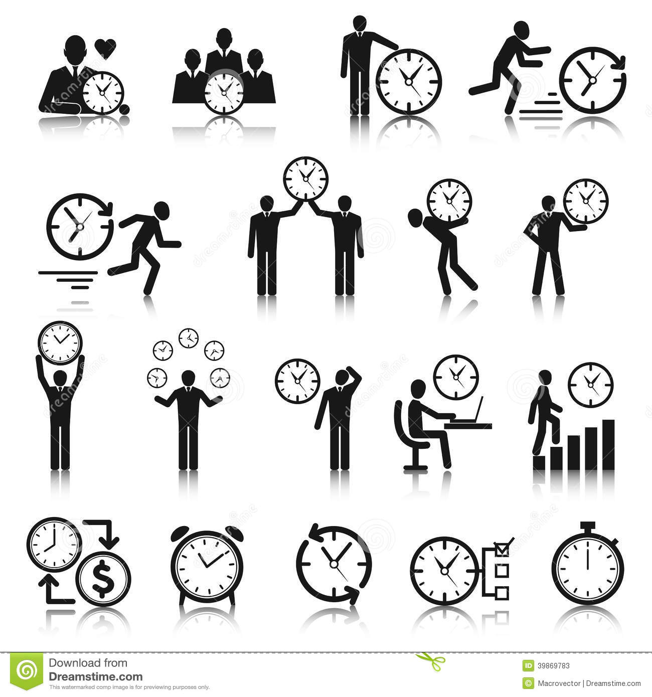 Time Management Icons Set Stock Vector Image 39869783