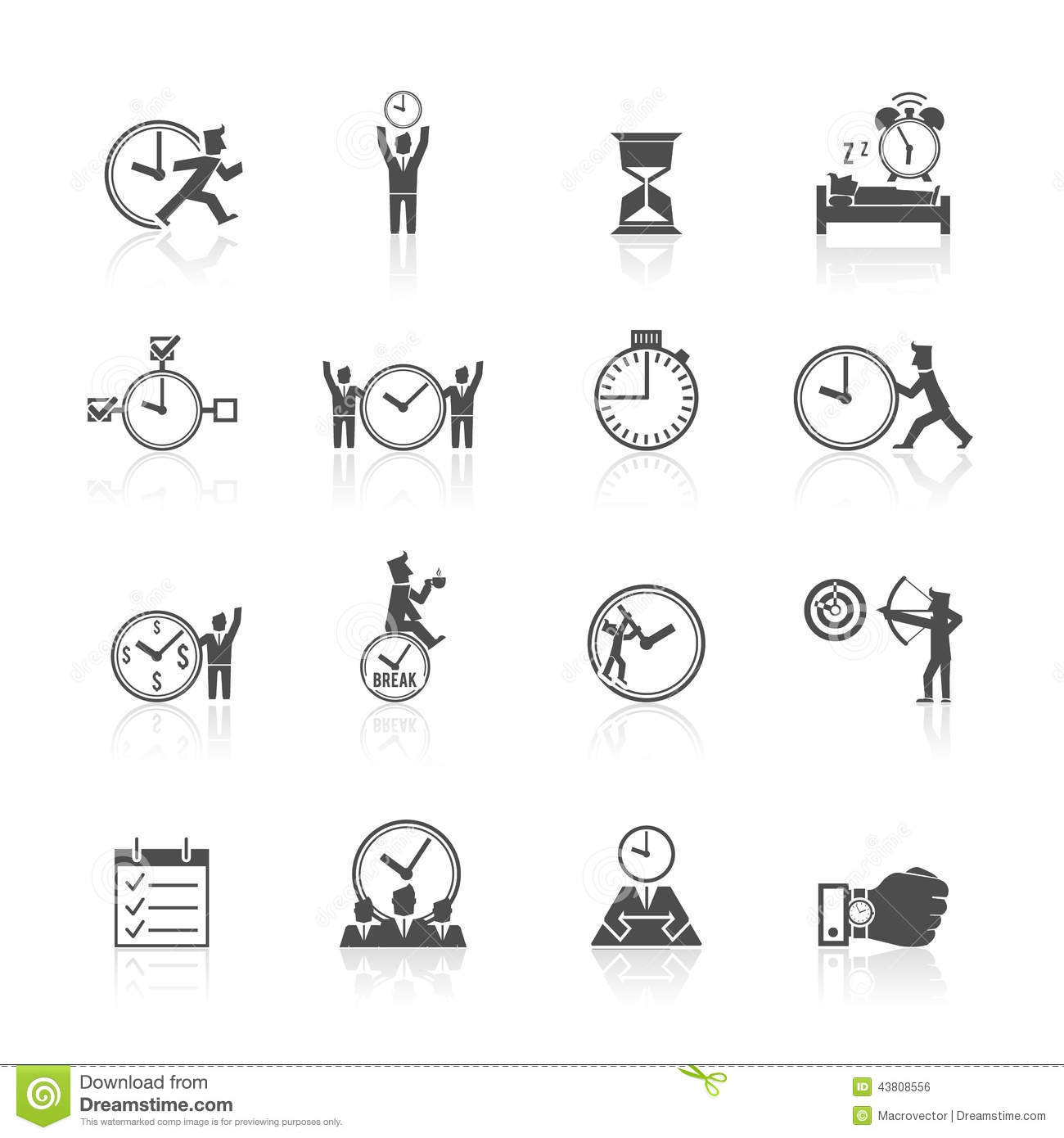 time management icons set stock vector