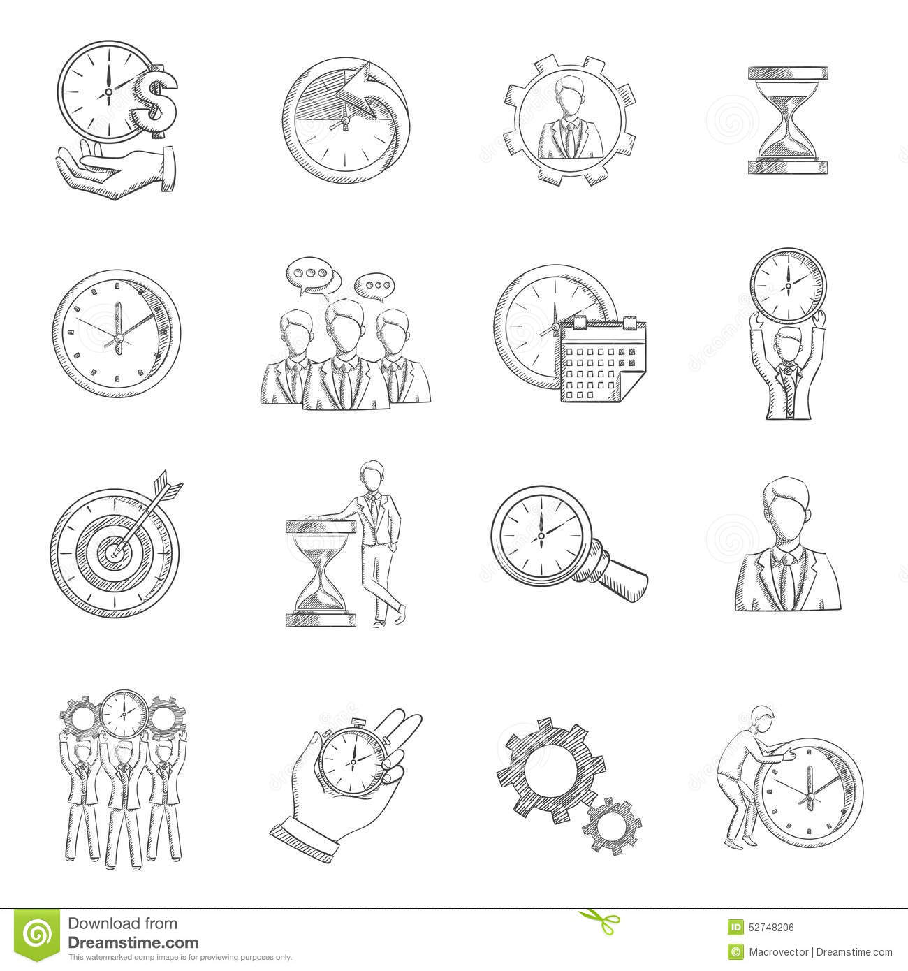 Time Management Sketch Stock Vector Illustration Of Achieving