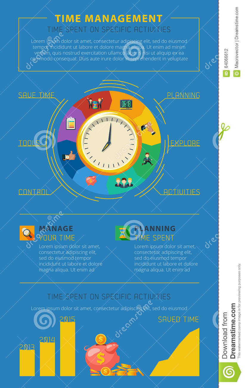 time management tips infographic poster stock vector