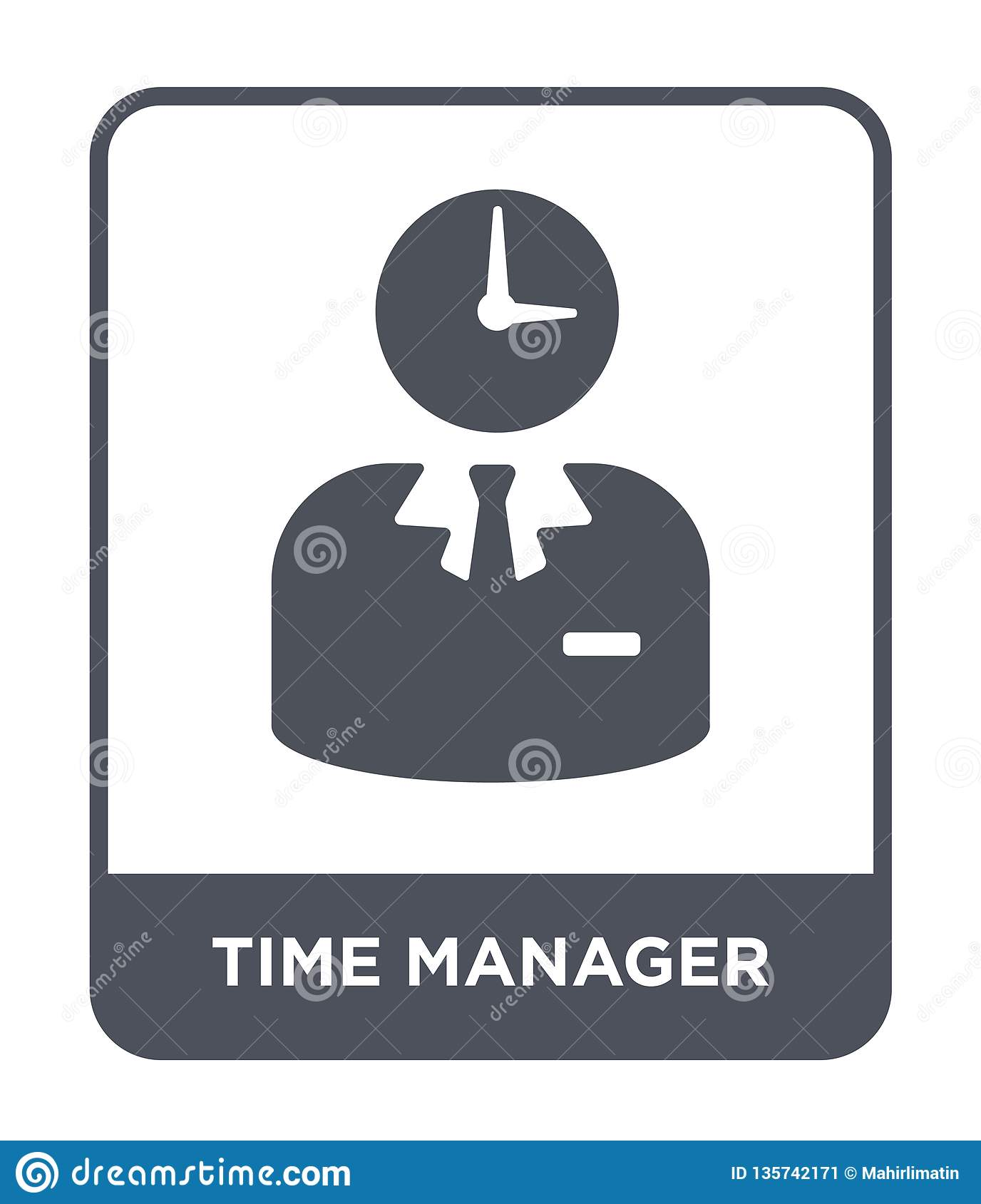 time manager icon in trendy design style. time manager icon isolated on white background. time manager vector icon simple and