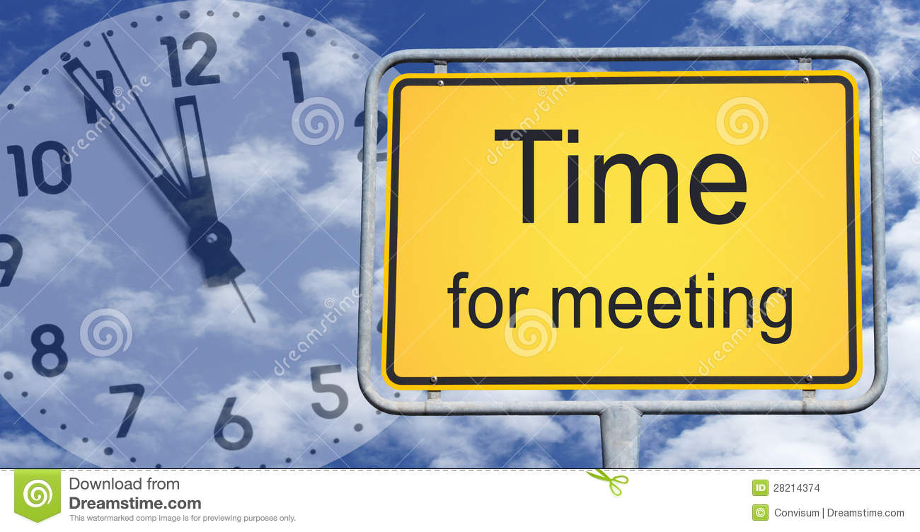 Time For Meeting Sign And Clock Stock Images - Image: 28214374
