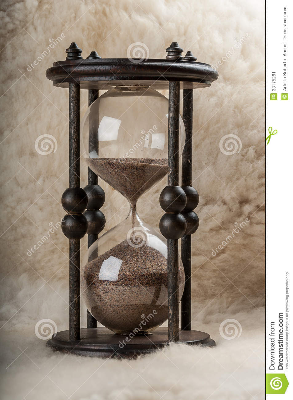 Time Is Money. Antique Hourglass. Stock Image - Image: 33175281