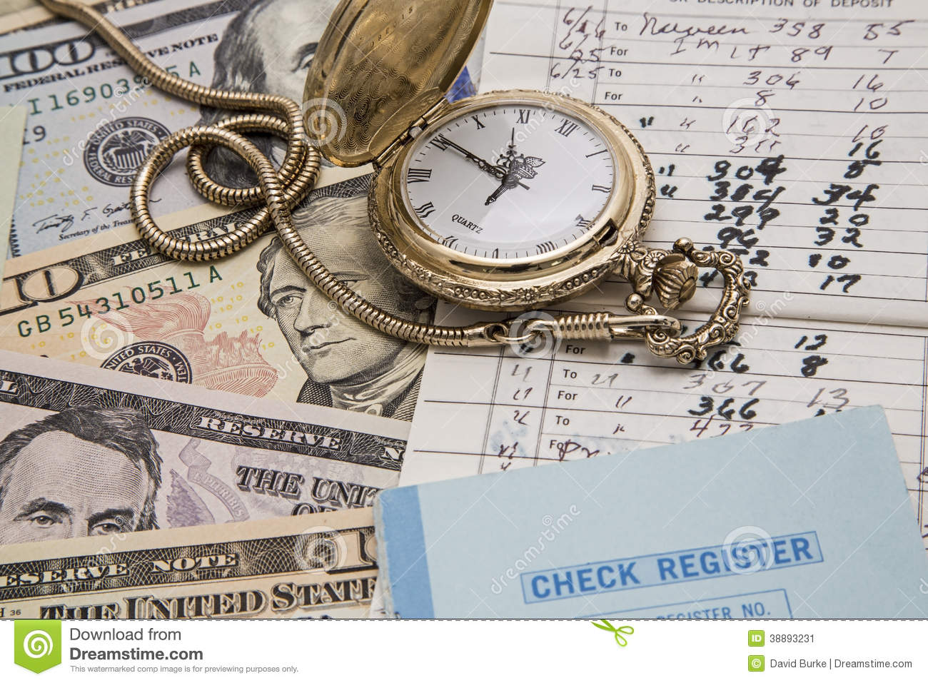 Time Money Management Checkbook Concept Stock Photo ...