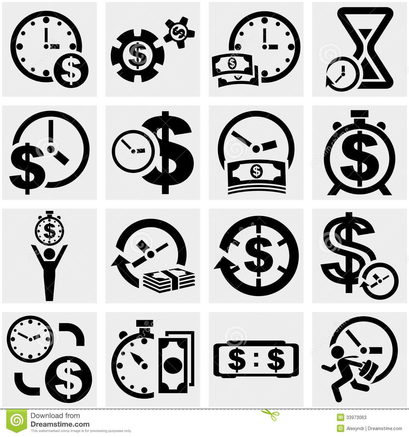 Time Is A Money Vector Icons Set On Gray Stock Photos