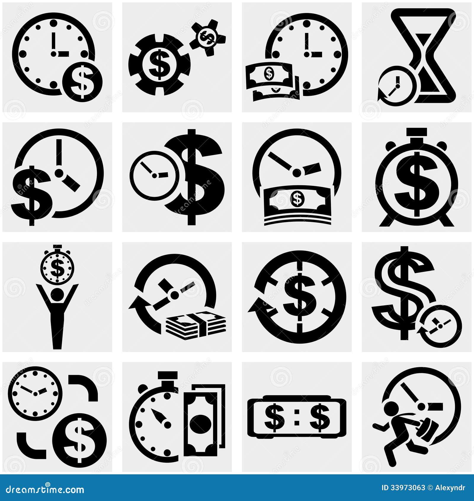 Time Is A Money Vector Icons Set On Gray Stock Vector ... X Arrow Money Bag Emoji