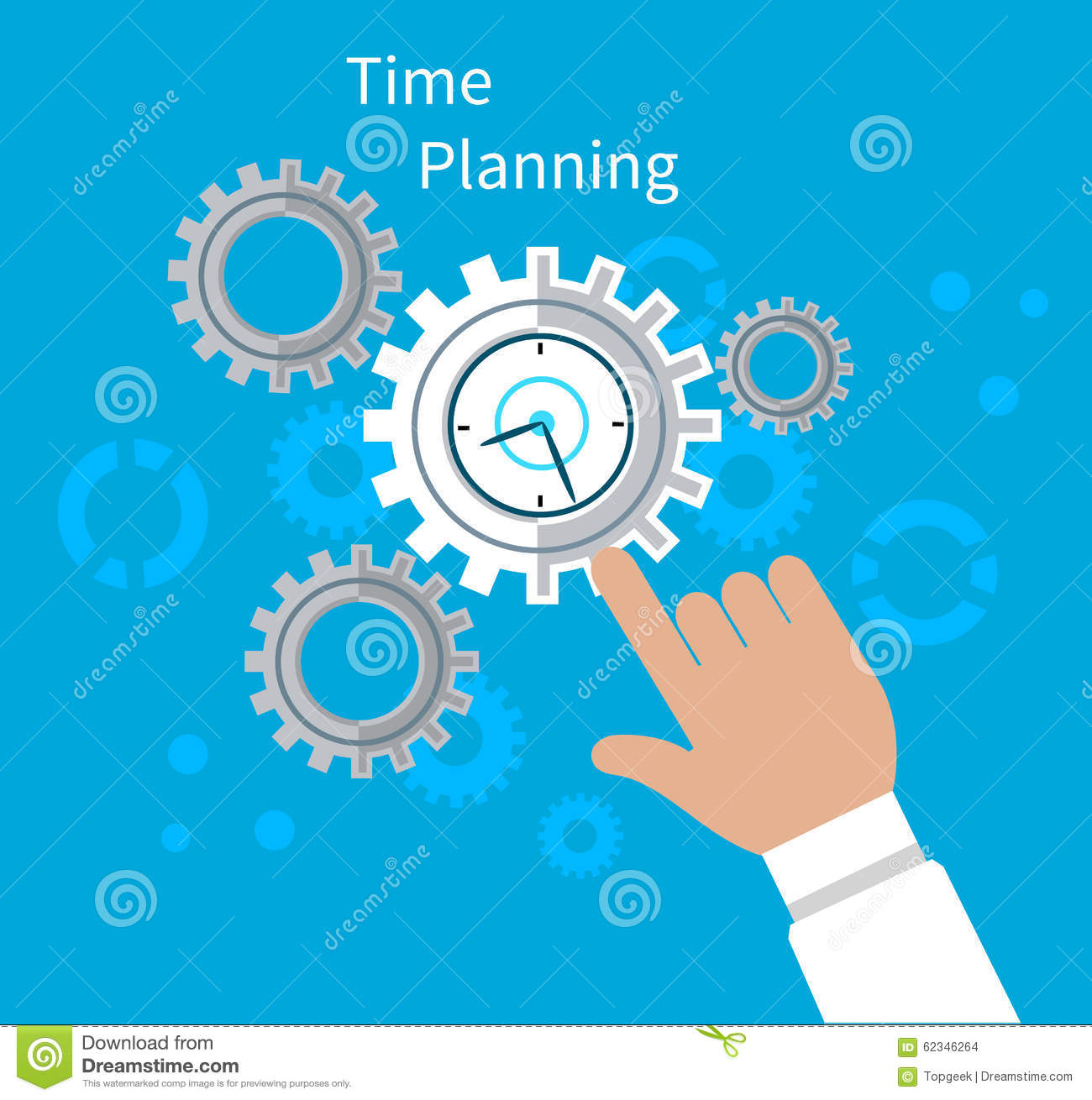 Flat clock motivation design cartoon vector for Time design planner