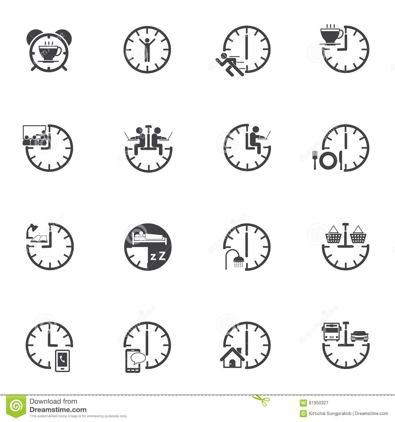 Time With Daily Routine Icon Set Stock Image - Image of ...