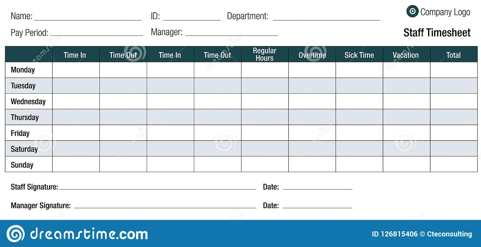 Time Sheet Template Table For Employees Stock Vector Illustration