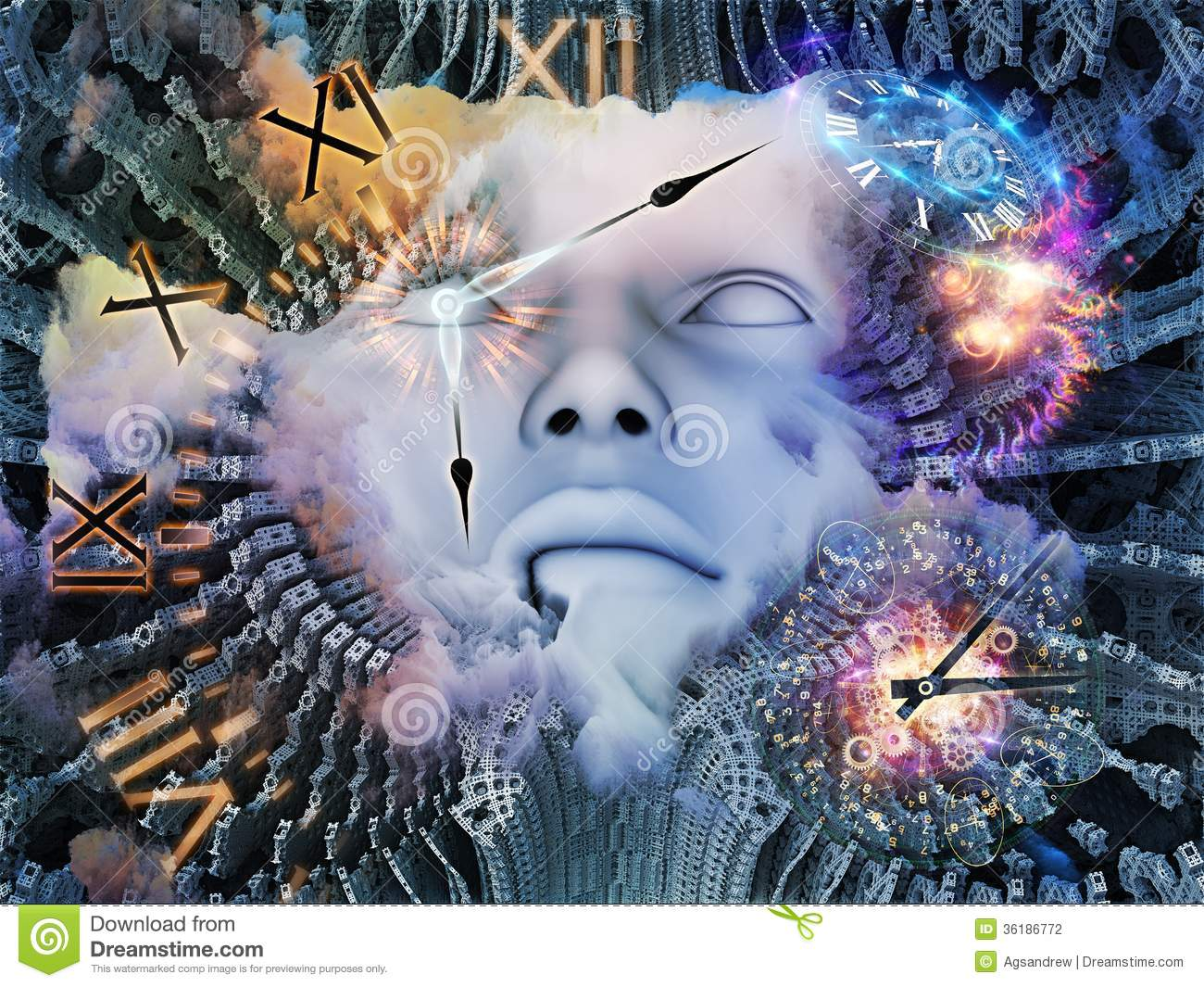 Time space stock illustration image of awareness memory for Time to space