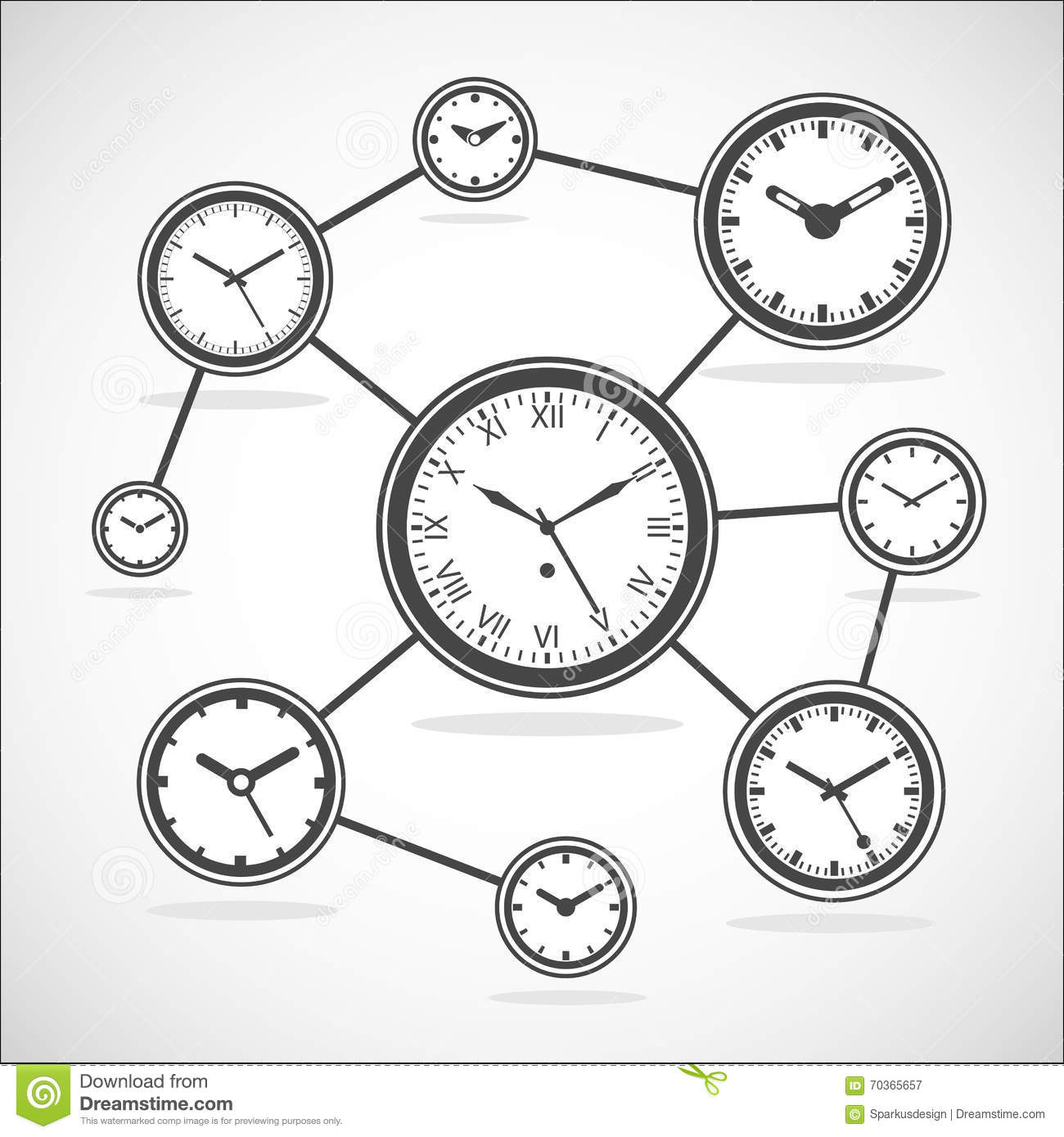 time synchronization diagram - vector illustration stock vector