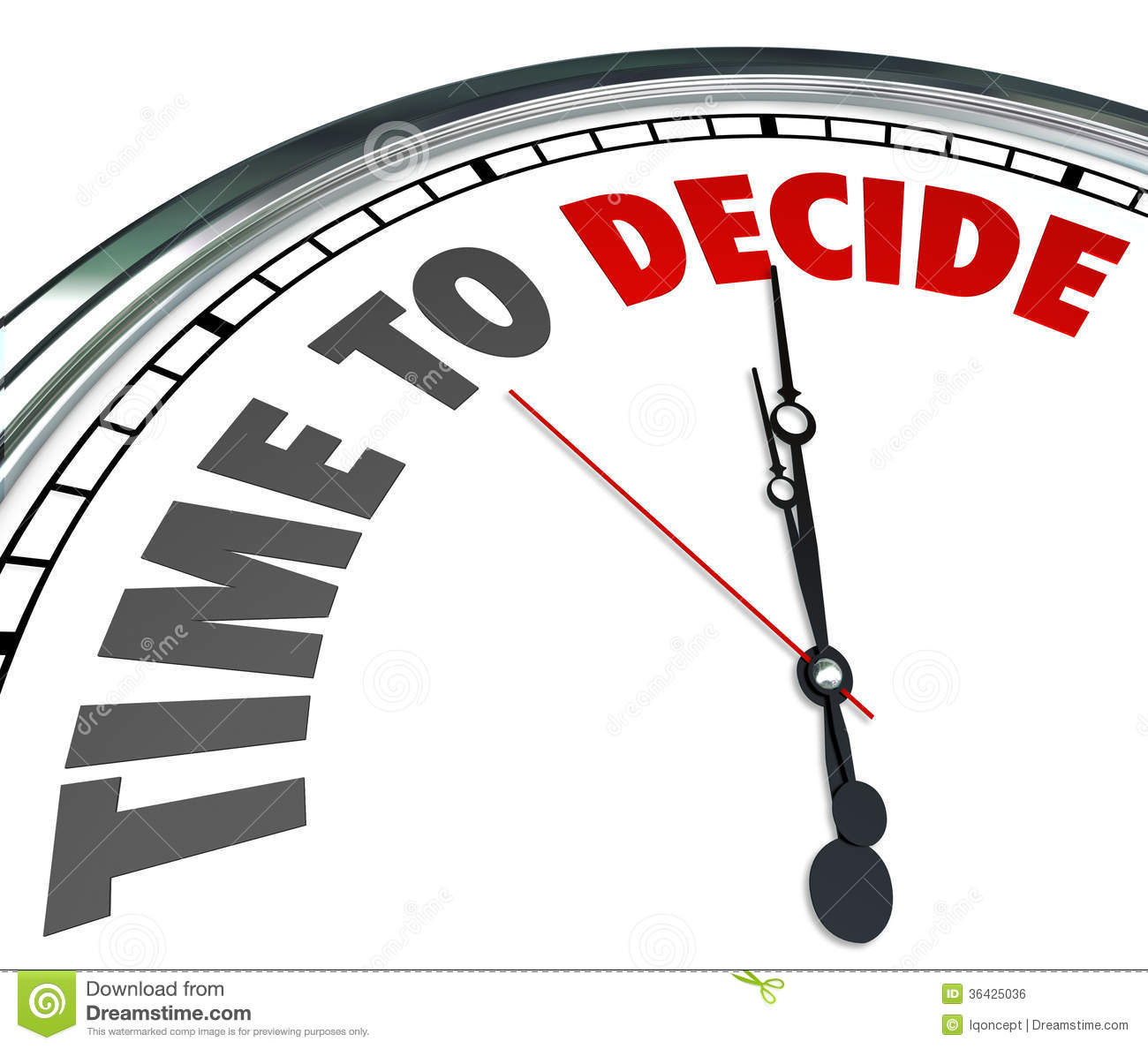 Time To Decide Clock Choose Best Option Opportunity Royalty Free Stock ...