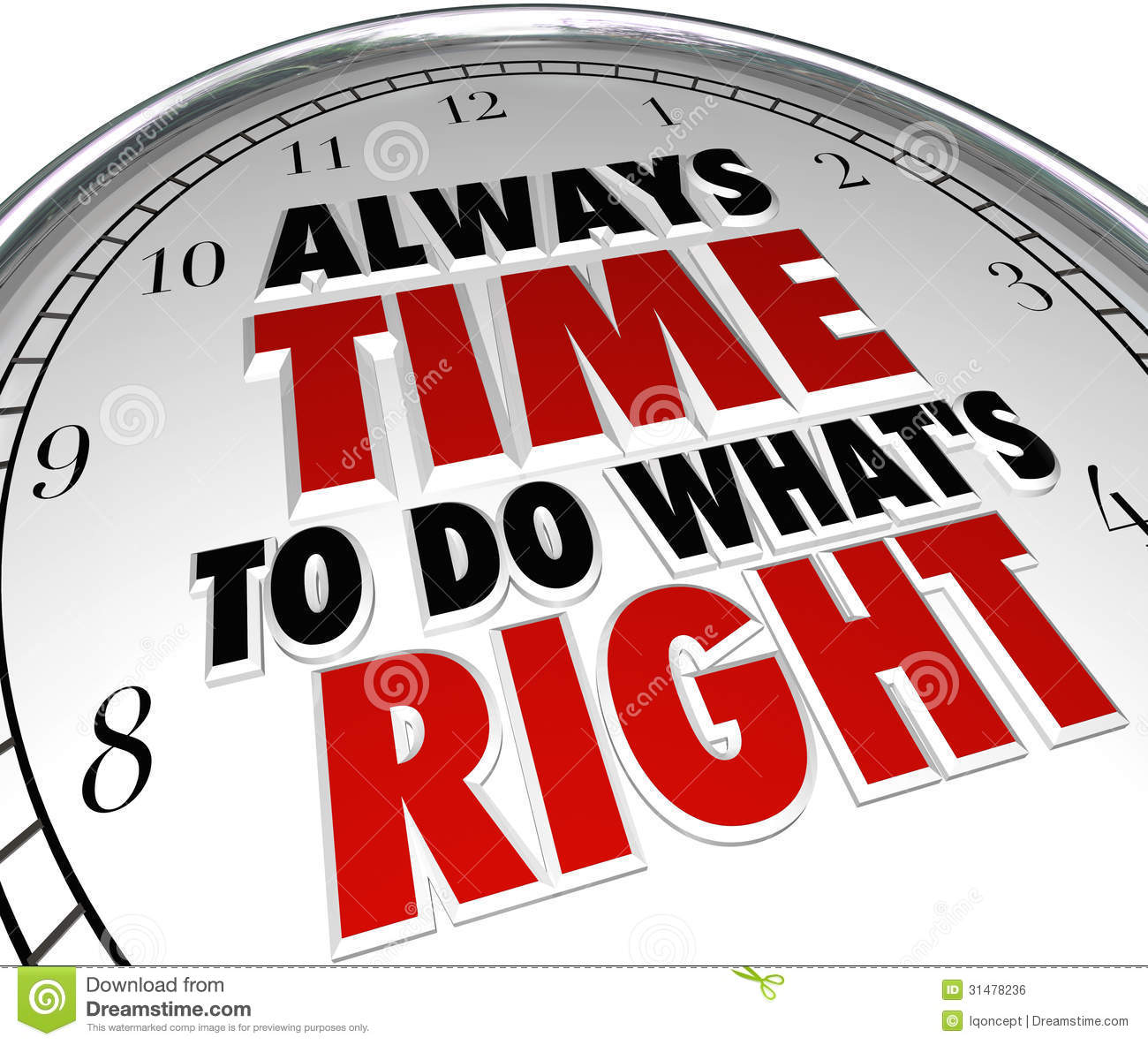 Always Time To Do What39;s Right Saying Clock Quote Royalty Free Stock