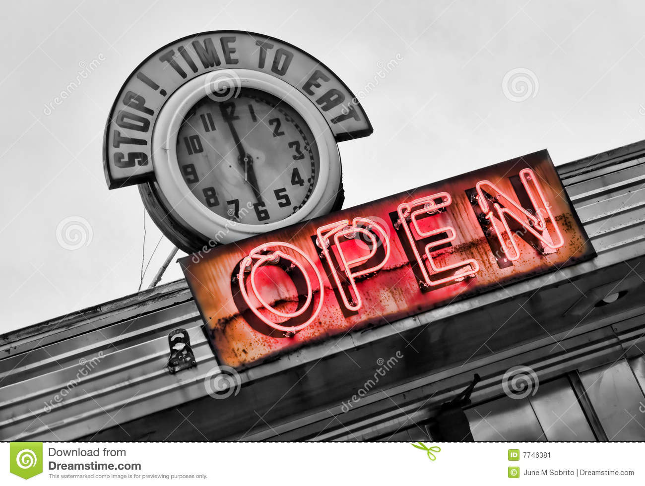 Time to Eat stock image  Image of neon, northeast, clock - 7746381