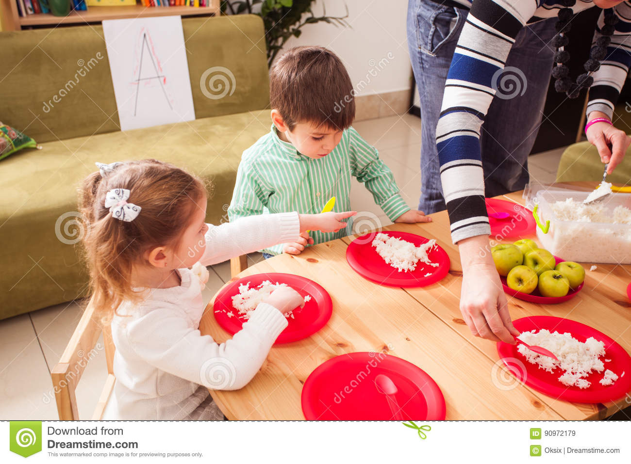 Time To Eat In Kindergarten Stock Image Image Of