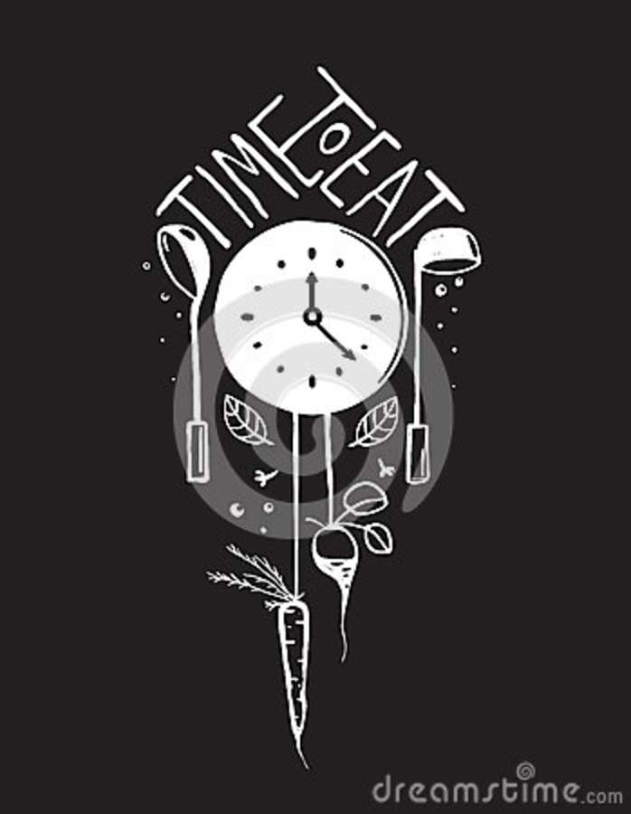 Time To Eat Sign And Label Monochrome Design On Stock ...