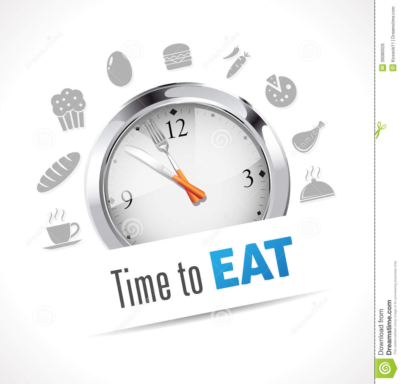 Time to eat stopwatch stock vector. Illustration of food ...
