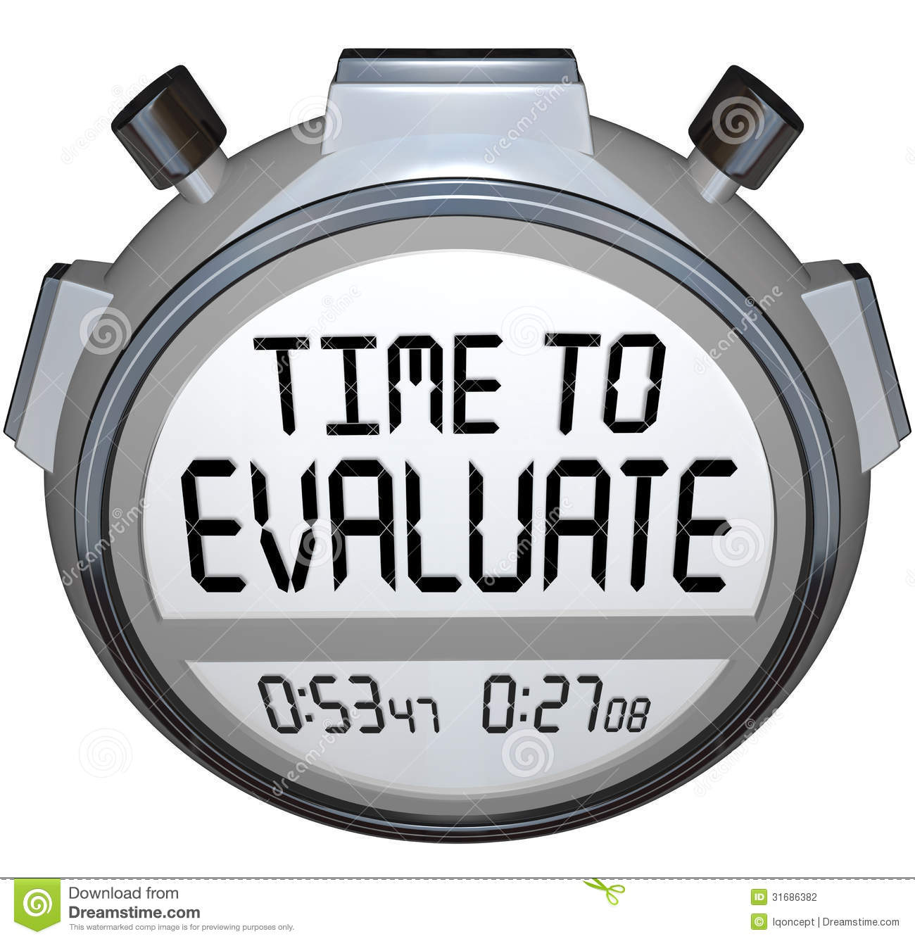 Time To Evaluate Words Stopwatch Timer Evaluation Stock Photography ...