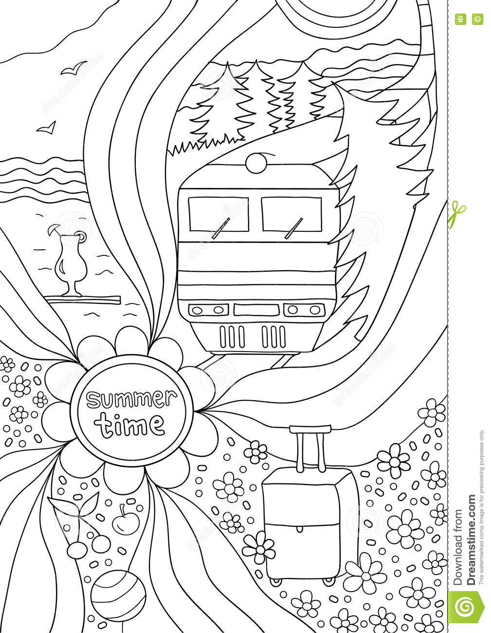 Time To Relax Coloring Page For Adults Anti Stress Stock