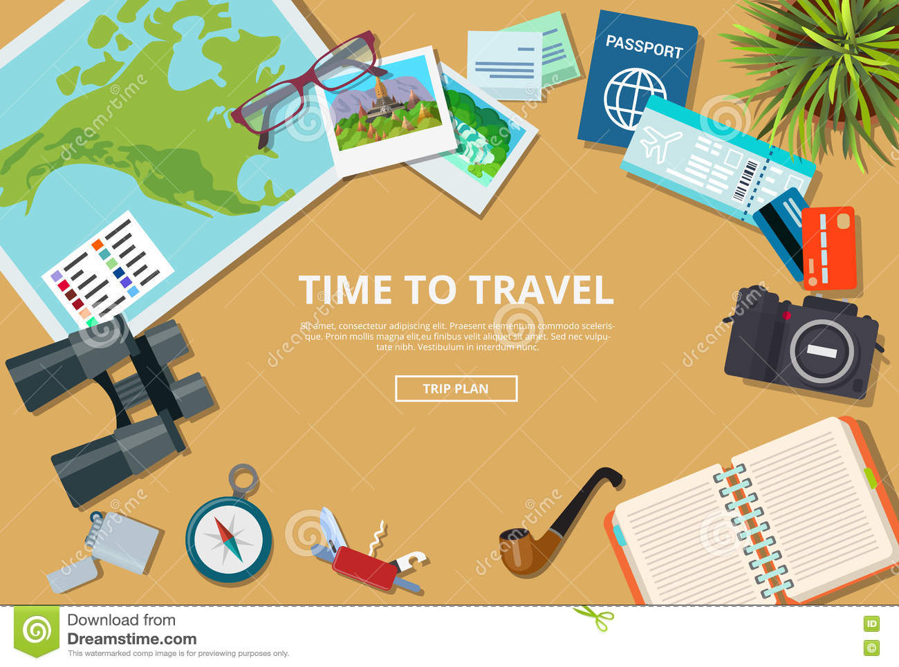 Time to travel agency web brochure vector illustra stock for Time design planner