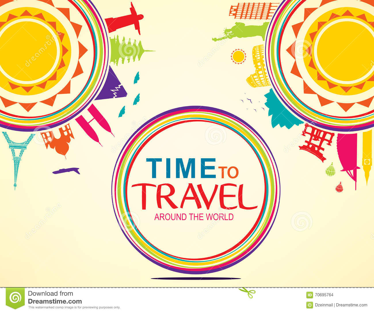 Time To Travel Around The World Colorful Vector Pop Art