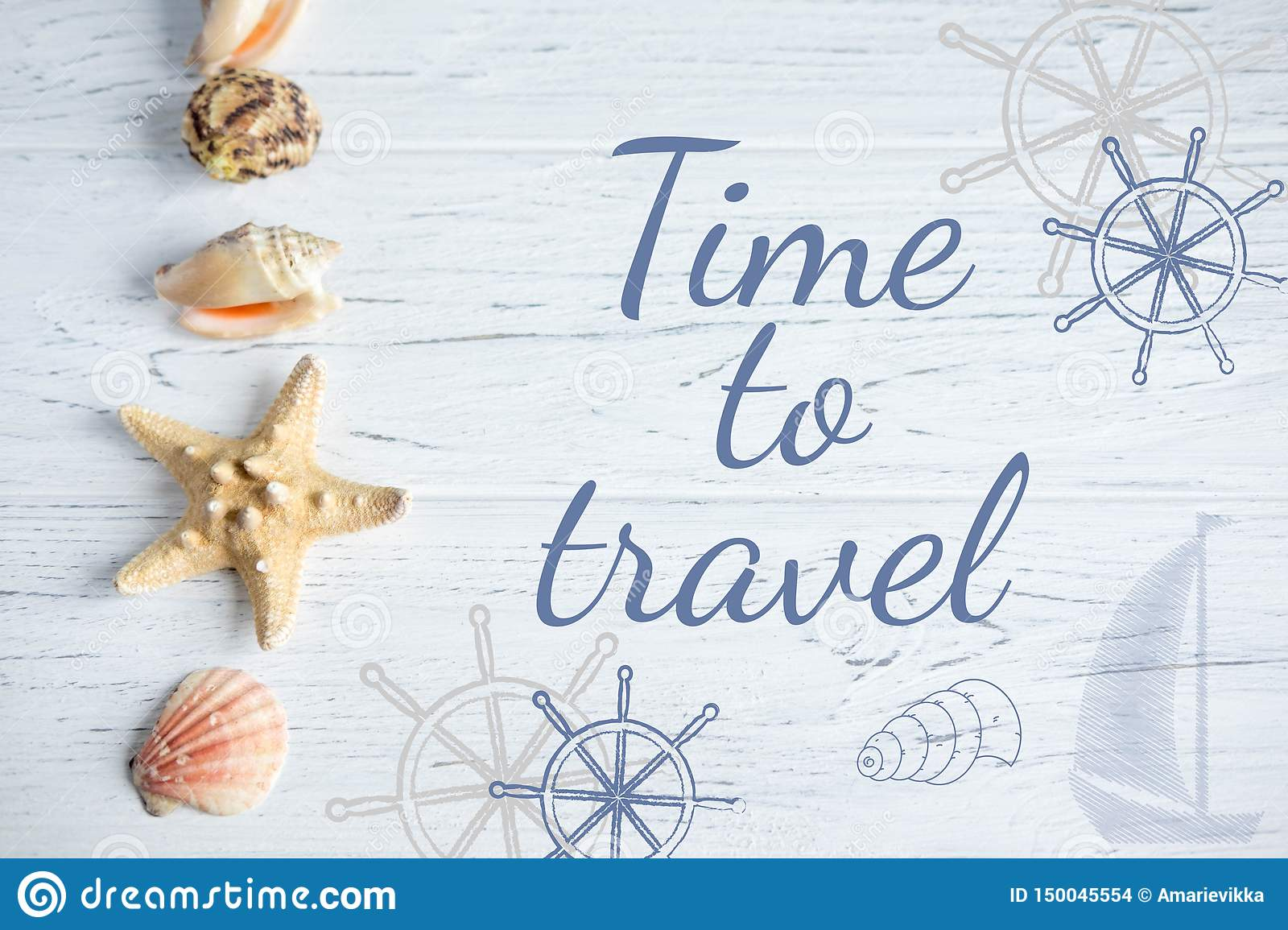 Time to travel. Banner with an inscription on the marine theme. Seashell, Steering and Ship Banner