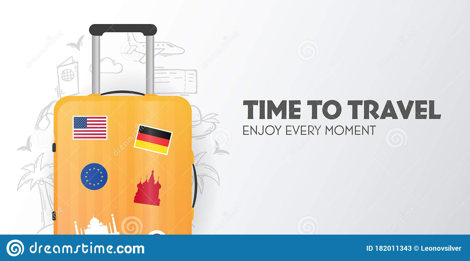 Time To Travel Banner With Travel Bag Vacation Road Trip Tourism Journey Travelling Illustration Modern Flat Stock Vector Illustration Of Global Background 182011343