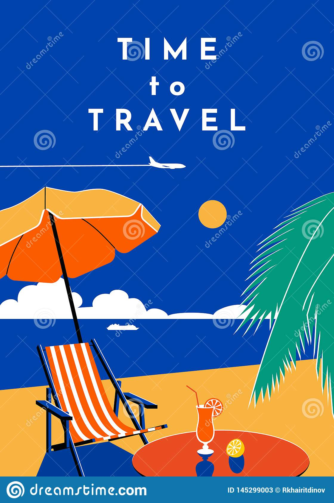 Time to Travel poster. Summer banner with beach and sea. Vector flat illustration