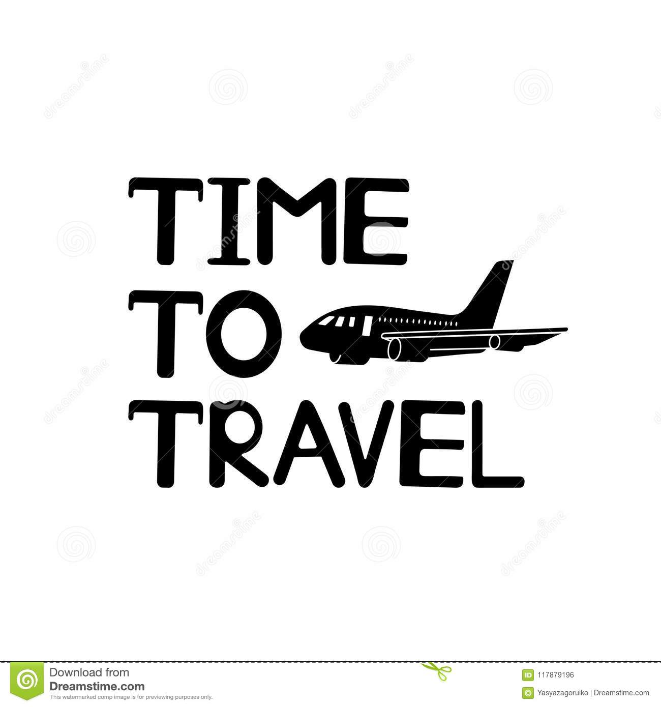 Time to travel text and black plane icon.