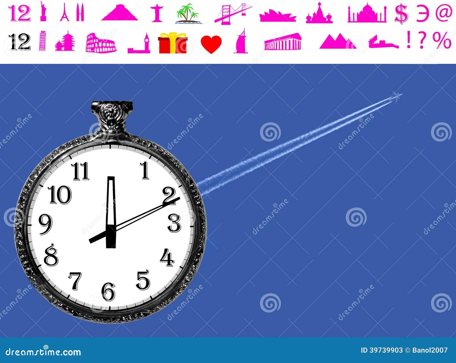 Time Travel To Start Of Landmark Icons Stock