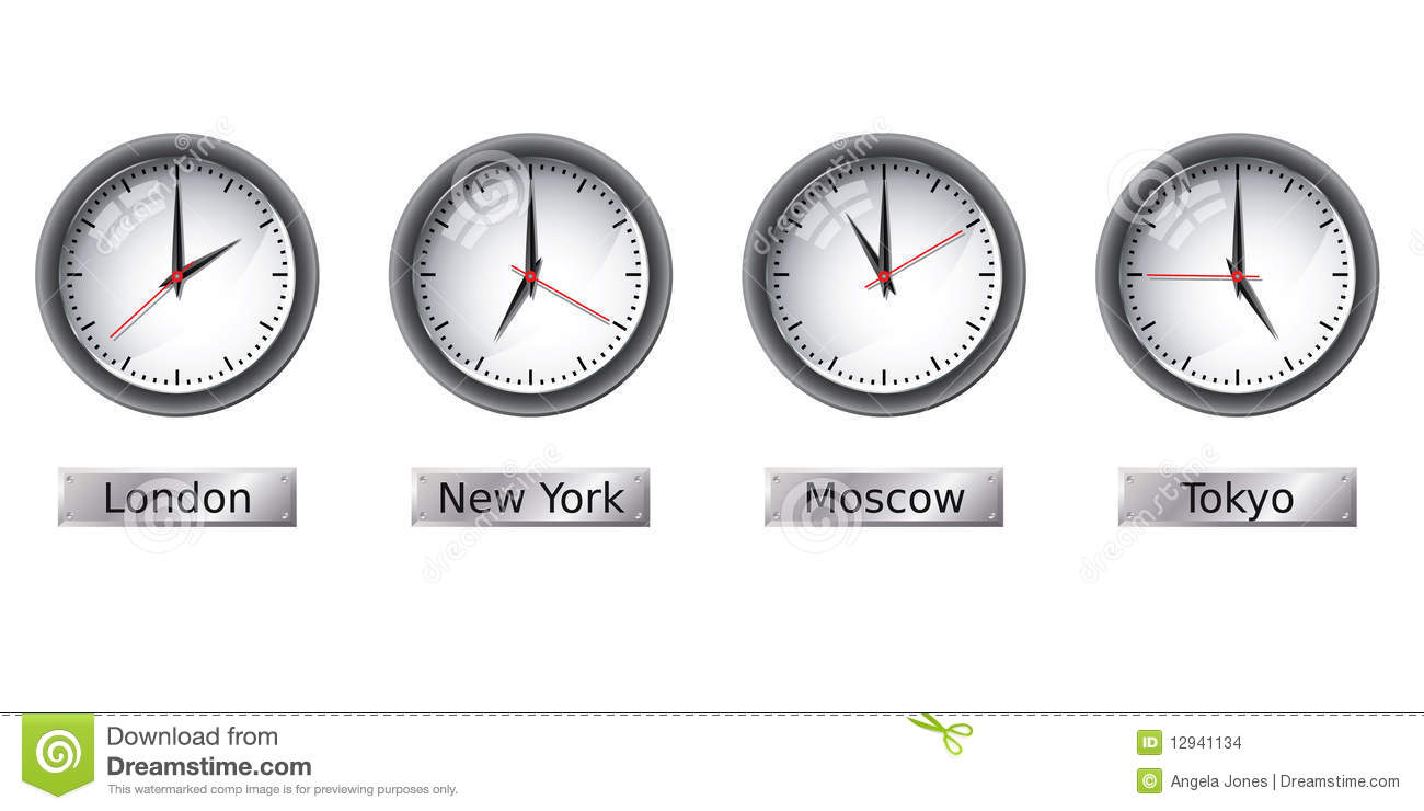 Time Zone Clocks Stock Images - Image: 12941134