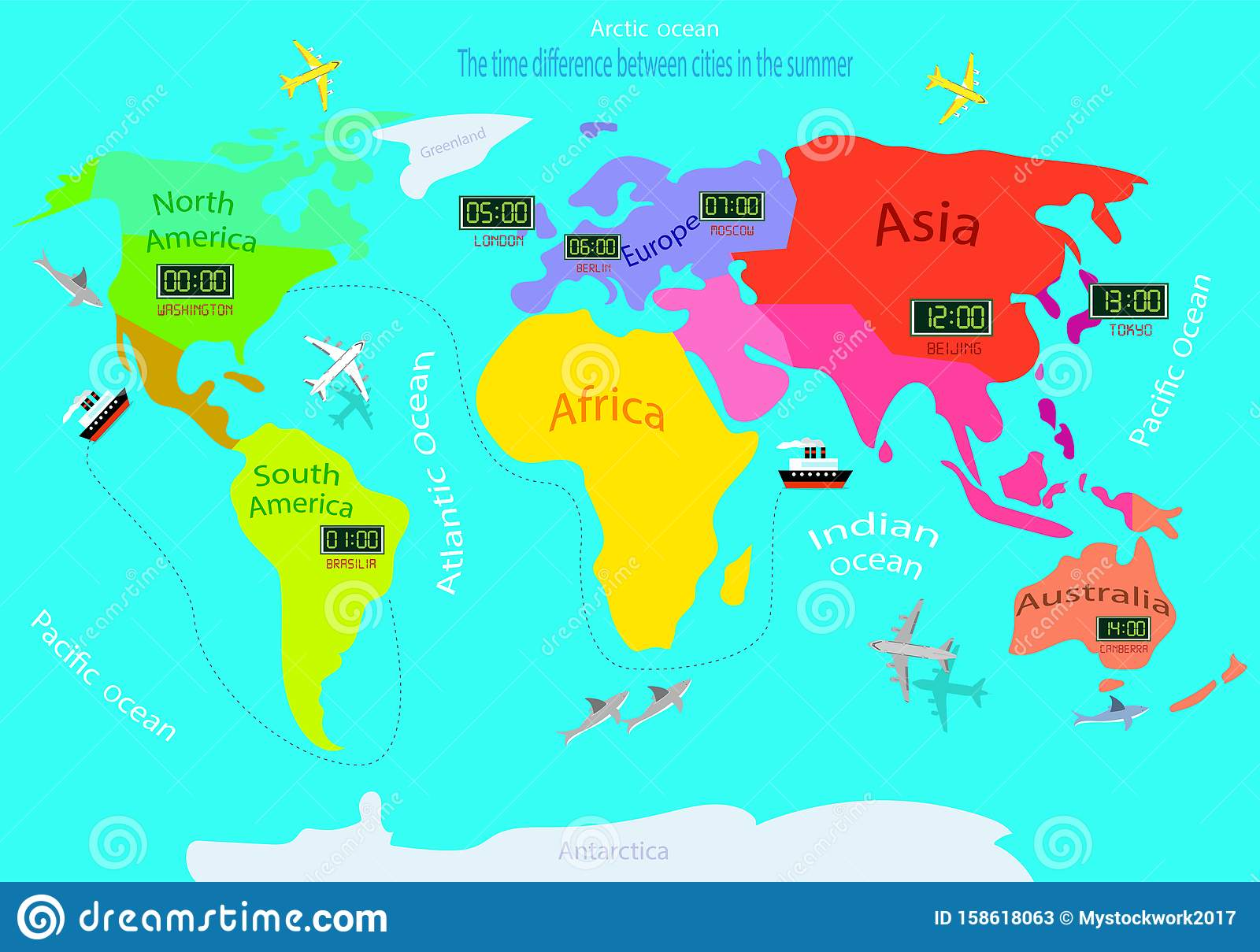 Time Zones On A World Map. Time Difference Between Countries ...