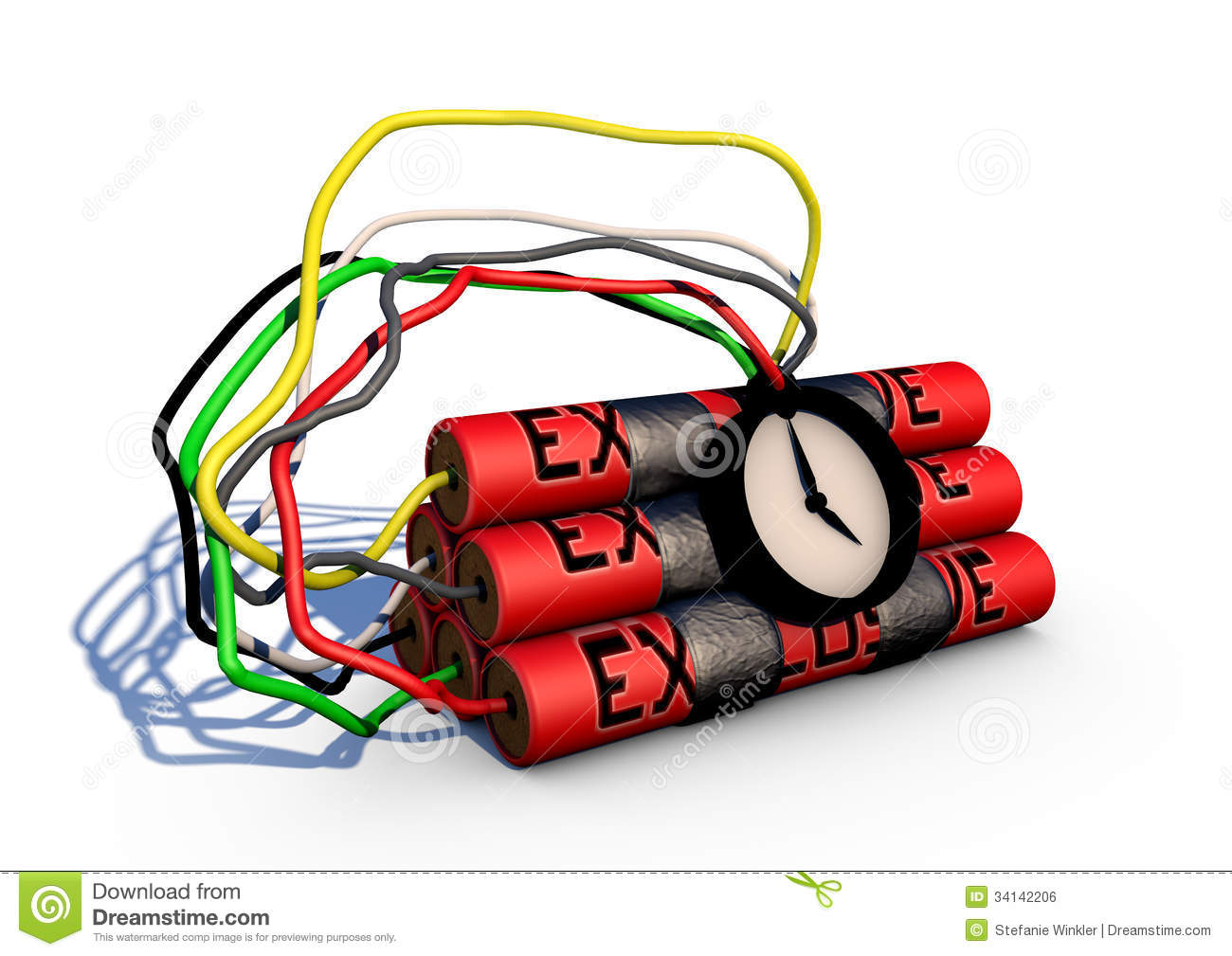 Timebomb Stock Illustration Of Conflict 34142206 Wiring Red Green White Black A Ticking Bomb With Yellow And Grey Cable