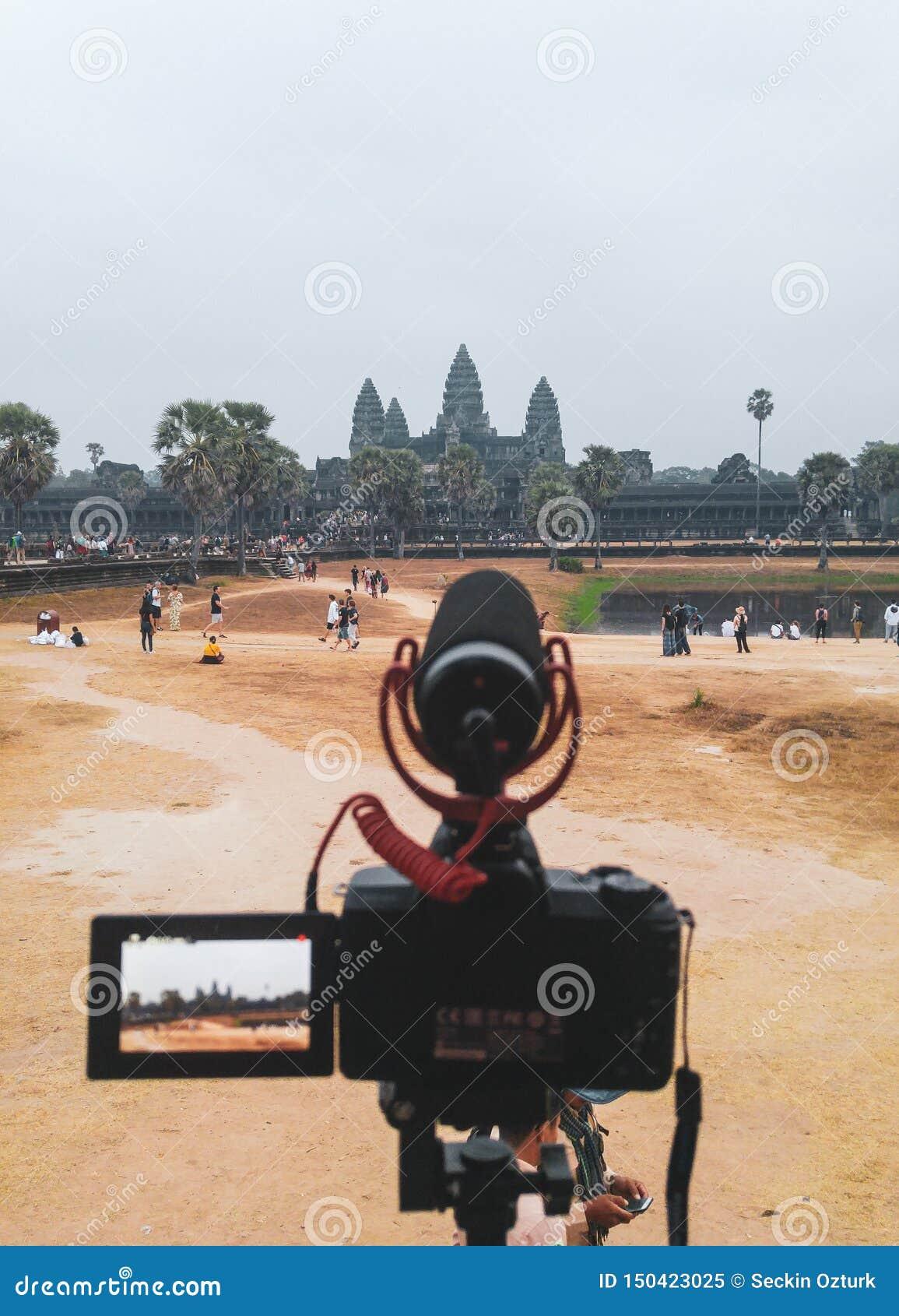 Timelaps do nascer do sol para o templo de Angkor Wat em Siem Reap, Camboja